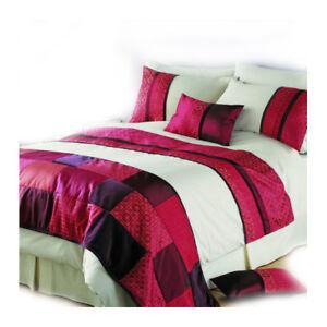 Luxury Single Satin Patchwork Dark Red Bedding Set Quality Duvet Cover 'Phuket'