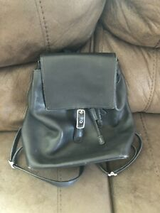 Coach RARE Legacy leather drawstring backpack black #9827 EUC