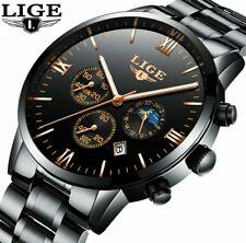 Luxus Herren Chronograph schwarz Armbanduhr Mond-Phase Anzeige Wasserdicht Datum