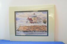 """Harbour Lights Watercolor Print of """"East Brother Lighthouse, Ca"""" w/binder."""
