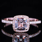 10K Rose Gold 6x6mm Cushion Pink Morganite Engagement Halo Diamond Fine Ring