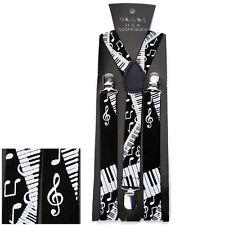 NEW Suspenders Men And Women Clip-on Braces Elastic Piano Keys Music Notes Black