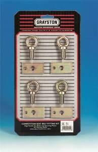 Grayston Competition Seat Belt Harness Kit - 4 Eye Bolts & Plates