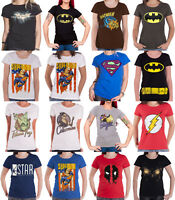Superhero T Shirt Batman Superman Official DC Comics Marvel Womens Skinny Fit