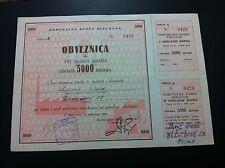 EXTRA RARRE - YUGOSLAVIA --MUNICIPAL BANK BJELOVAR - 5000 DINARA 1961 - BOND