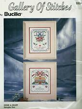 Home & Heart Stamped Sampler Pair Cross Stitch Kit Bucilla Gallery of Stitches