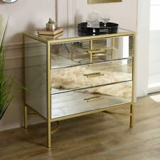 Large clear glass mirror gold framed chest drawers bedroom living room storage