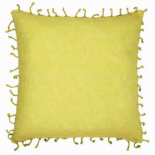 Hamptons Beachy Style Summer Yellow & Knotted Fringe Cushion Cover RRP $39.95