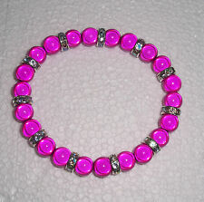 Hot Pink/Rondelle Miracle Bead Stretch Bracelet Fashion Jools Handmade