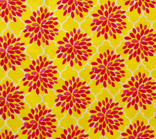 Yellow Red Pink Floral Quatrefoil Cotton Apparel Quilt Sewing Fabric By The YARD