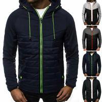 Men's Padded Puffer Bubble Coats Casual Warm Hoodie Jackets Zip Up Tops Outwear