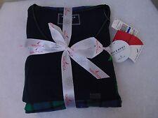 Nautica Sleepwear Top and Flannel Pajama Pants Gift Set Blue Green Plaid XL #502