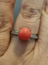 Natural 3ct salmon pink coral zircon shoulders ring solid 925 silver size M 6.5