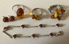 Vintage Quality Sterling Silver Amber Jewellery Ring, B Bundle Job Lot-not scrap