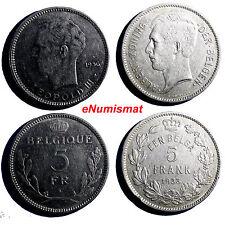 Belgium Lot OF 2 Coins 1936 , 1933  5 Francs, 5 Frank   31 mm KM# 108 KM# 98