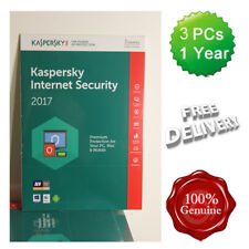 Kaspersky Internet Security 2017 - 2018 3 Users Multi device inc Antivirus UK