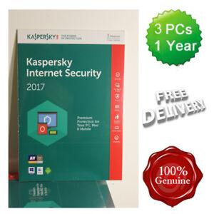 Kaspersky Internet Security 2017 - 2018 3 Users Multi device inc Antivirus UK