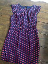 Oasis Peplum Evening Dress Size 12 Navy Blue Red Lips Keyhole Back Fully Lined