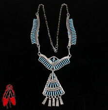 Vintage Zuni turquoise necklace sterling silver .925 old pawn handmade artisan