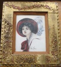 Antique Arts and Crafts Gesso Frame Lady w Large Feather Hat 1915 Florence Pratt