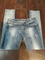 Miss Me Skinny Jeans bling fashion JE5014S36L sz 33x33 measured EUC Blue Denim