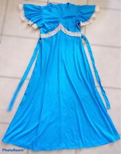 New listing Vintage 70s Blue Flutter Sleeve Maxi Dress L Empire Waist Crochet Boho Hippie