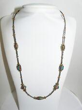 Collier perles ethniques népalaises cloisonnées corail turquoise lapis UNIQUE