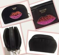 Victoria's Secret Love Patch On The Go Double Zip Cosmetic Bag Black Sequin Lip