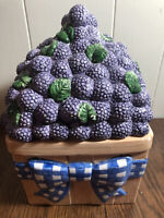 """CIC Peggy Jo Ackley Ceramic Purple Berries Canister Replacement 10""""  6.5 x 6"""