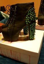 Jeffery Campbell Lime Green Lita Spike Platform Heel Boot Black Leather Size 9.5