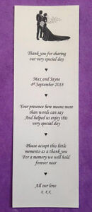 50 x personalized wedding scrolls, mini favours, Bride and Groom