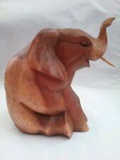 Sitzender Elefant Holzfigur Tier