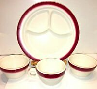 """Buffalo China Plate Cup Bowls Restaurant Ware Divided Grill 9.5"""" Red Stripe Vtg"""