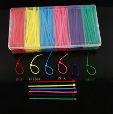 "480PCS Colourful 3*100mm 4"" Self-locking Cable Zip Ties Nylon In Box"
