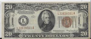 1934 A $20 FEDERAL RESERVE NOTE - BROWN SEAL HAWAII EMERGENCY NOTE - MULE