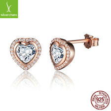 925 Sterling Silver One Love Stud Earrings, Authentic 18k Rose Gold Fine Jewelry