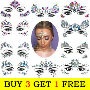 Face Jewel Stickers Adhesive Face Gems Rhinestone Make Up Party Festival Sticker