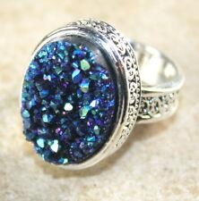 SILVER Vintage Style Blue Green Rainbow Titanium Druzy 15x20mm Ring Size 9.75