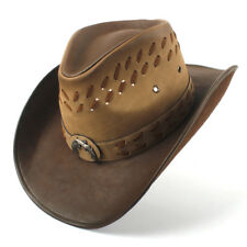 cae553077b41a Men Leather Cowboy Hats Western Caps Wide Brim Sunhat Sombrero Sunbonnet 7  1 4