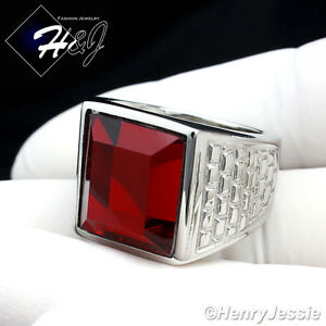 MEN's Stainless Steel Silver Tone Ruby Ring Size 8-13*R81