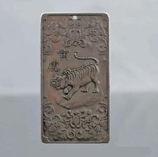 collectibles Chinese Old 12 Zodiac - tiger tibet Silver Bullion thanka amulet