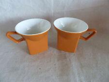 "2 English Unusual  Coffee Cups Mugs    Orange Saffron  Square at Base  3 1/8"""