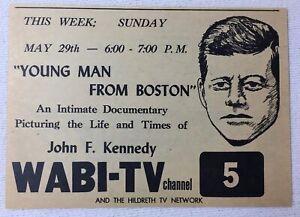 1966 Wabi Télévision Annonce ~ Young Man De Boston John F Kennedy Jfk