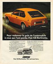 Publicité Advertising 1975  FIAT 128 Berlinetta