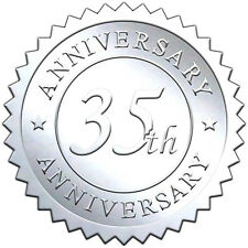 """Elegant SILVER embossed foil anniversry seals """"35th ANNIVERSARY"""" - 50 pack"""