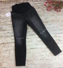 Isabel Maternity Jeans 12 Jeggings Black Cut Distressed Crossover Panel Frayed