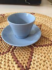 VINTAGE WOODS WARE IRIS DESIGN RETRO BLUE CUP & SAUCERS