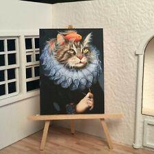 Miniature Dollhouse Shadow Box Art Renaissance Cat Royal with Fish Handmade
