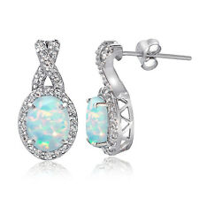 Sterling Silver 2ct TGW Created Opal & White Topaz X and Oval Drop Earrings