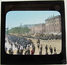 COLOUR Glass Magic lantern slide MILITARY PARADE POSSIBLY PARIS OR BERLIN C1890